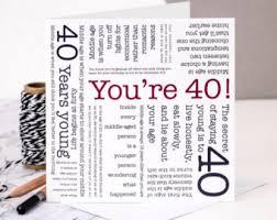 40th birthday card etsy
