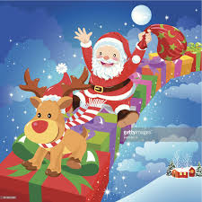 santa claus and reindeer vector art getty images