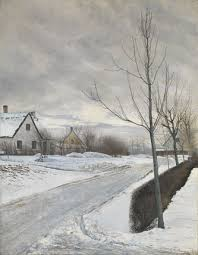 print of road in the of baldersbrønde winter day