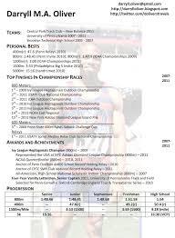 athletic resume darryll oliver athletic resume