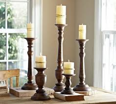 oxford turned wood candleholders pottery barn