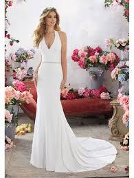 halter neck wedding dresses mori 6855 melanie crepe halterneck bridal gown ivory