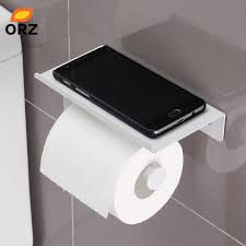 Bathroom Tissue Storage Orz Toilet Paper Holder With Mobile Phone Storage Shelf Rack Wall