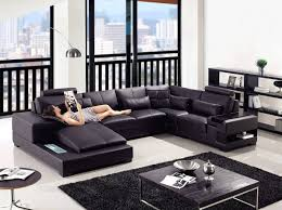 Big Sectional Sofas by Classy Black Leather Big Sectional Couches With Recliner And