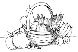 basket of fruits and vegetables clipart black and white clip art