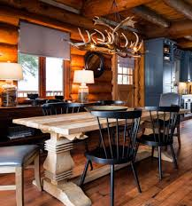 rustic dining room with antler chandelier rustic timeless antler