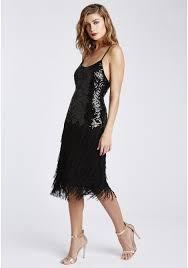 anna black sequin and fringe flapper dress