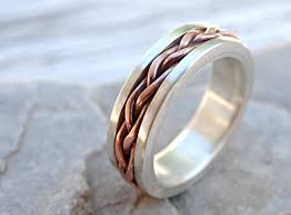 mens eternity rings braided ring silver copper unique wedding band silver mens