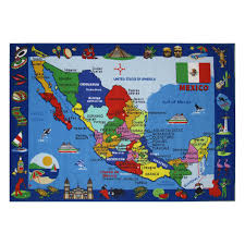 Merida Mexico Map by Fun Rugs Ktft 131 Kids Time Map Of Mexico Kids Rug The Mine