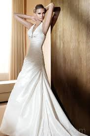 v neck halter elastic satin ruched vintage wedding dress wholesale