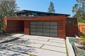 modern garage home plant design idea with glass door cement block