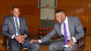 michael strahan new haircut carmelo anthony michael strahan go one on one video abc news