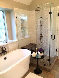 creative distractions remodeling vickie hallmark jewelry remodeled bath mother of pearl penny and subway tile external hardware shower frameless