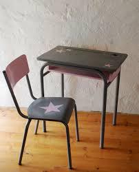 chaise d colier ensemble bureau et chaise d écolier vintage relooké gris