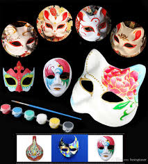 2017 diy blank mask painting set paper mask for halloween