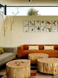 furnitures industrial living room with bright orange wall decor