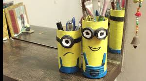 how to make minions pen stand with waste material l pencil holder