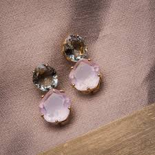 green amethyst earrings 18ct gold vermeil green amethyst quartz earrings by