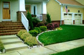 easy home design online modern landscaping ideas for front house with pine trees and red