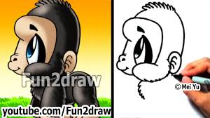 easy drawing lessons how to draw monkeys apes gorilla cute