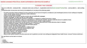 licensed practical nurse work experience letters