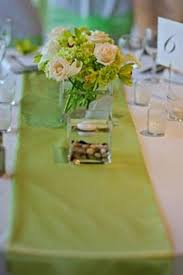lime green table runner prominence with the table runners