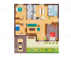 modern family house flat modern family house interior and room spaces floor plan from