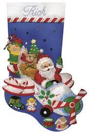 christmas applique tobin flying santa felt applique kit 18 inch