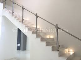 stainless steel glass railing square stair middle post inline design