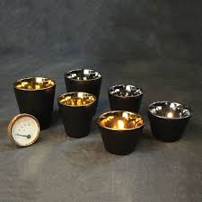 homart raas black ceramic votive cup gold interior low areohome