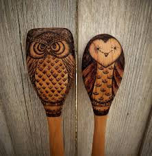 Owl Item by Owl Wooden Spoons Wood Burned Set Of 2