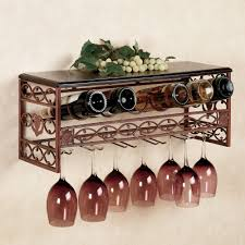 Decorative Shelves For Walls Wrought Metal Wine Bottles Rack With Glass Holder And Decorative