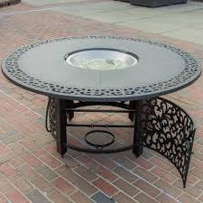 Patio Furniture Set With Fire Pit Table - evangeline 5 piece cast aluminum patio deep seating with fire pit