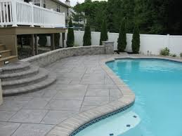 Small Backyard With Pool Landscaping Ideas by Colored Concrete Pool Deck Ideas Pool Design Ideas