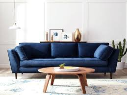 Navy Blue Leather Sofa Living Room Modern Minimalist Living Room Idea With Blue Sofa