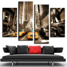 popular taxi painting buy cheap taxi painting lots from china taxi modern wall canvas painting yellow taxis sepia hot cuadros decoration unframed 4pcs modular pictures hd home