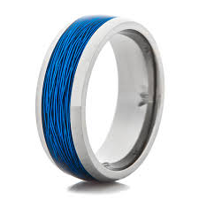 titanium wedding rings titanium ring with blue fishing line inlay titanium buzz