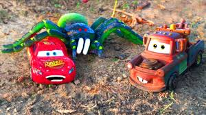 disney cars mater pranks lightning mcqueen car with giant spider