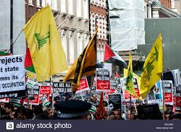 Hezbollah Flag London Uk 25th July 2014 Hezbollah Flags Raised As Thousands