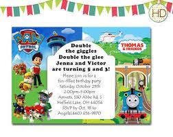 twin birthday invitation split invitation thomas by hdinvitations