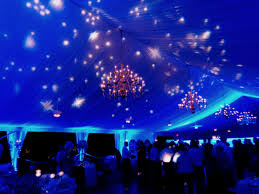 Outdoor Blue Lights Starry Ceiling Projections With Blue Lighting In The