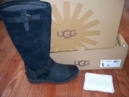 s thomsen ugg boots ugg wilowe chestnut fur cuff leather womens boots us 7