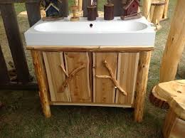 Unfinished Wood Vanity Table Furniture Exclusive Log Wood Vanity Cabinet With White Ceramic