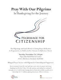 thanksgiving prayer song prayer service with pilgrims for citizenship tuesday night the