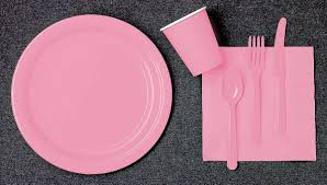 light pink paper plates napkins and cups 2 order