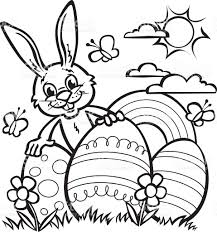 line drawing of easter rabbit and large easter eggs stock vector