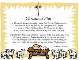 christmas poems about stars christmas star sunday ideas