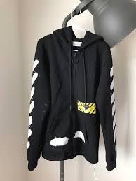 off white off white spray paint print zip through hoodie size m