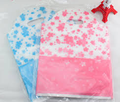 flower blue shopping plastic gift bags with handle pink plastic