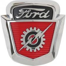 ford f100 f600 front emblem chrome with black 1953